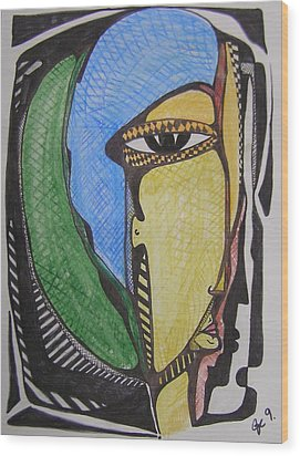 Mr. Blue And Green Hair Wood Print by Jimmy King
