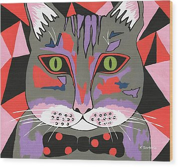 Mr Cat Wood Print