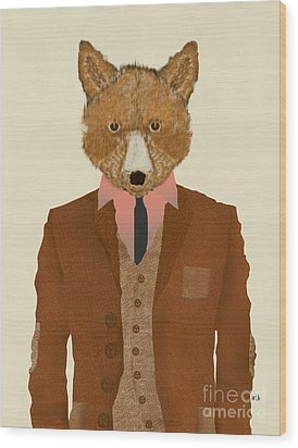 Wood Print featuring the painting Mr Fox by Bri B