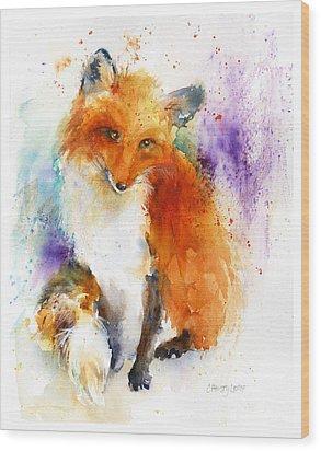 Mr. Fox Wood Print by Christy Lemp