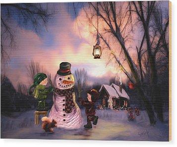 Mr. Frosty Wood Print