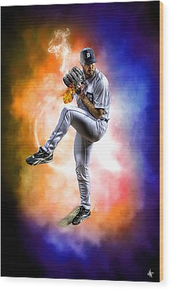 Mr. Justin Verlander Wood Print by Nicholas  Grunas