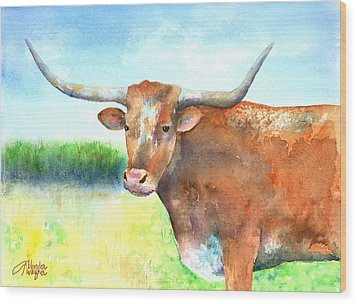 Mr. Longhorn Wood Print by Arline Wagner