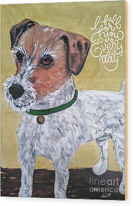 Wood Print featuring the painting Mr. R. Terrier by Reina Resto