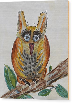 Mr.orange Owl Wood Print