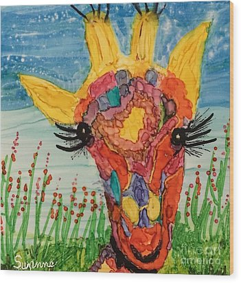 Mrs Giraffe Wood Print by Suzanne Canner
