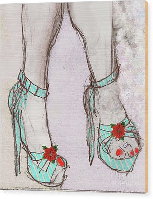 Ms Cindy's Shoes With Poinsettas Wood Print
