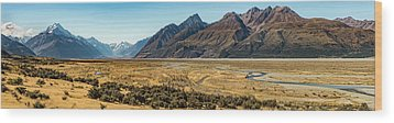 Wood Print featuring the photograph Mt Cook And Tasman River  by Gary Eason