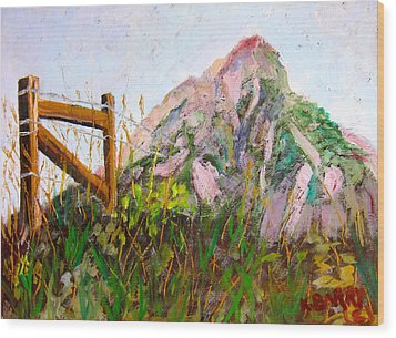 Mt. Crested Butte And Fence Wood Print by Kathryn Barry