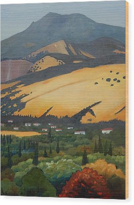 Wood Print featuring the painting Mt. Diablo Above by Gary Coleman