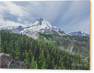 Mt Hood From Cloud Cap Wood Print by Linda Steider