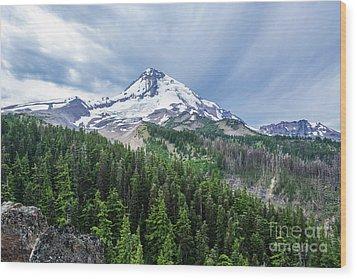 Mt Hood From Cloud Cap Wood Print by Linda Steider