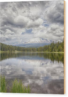 Mt Hood From Trilliam Lake Wood Print