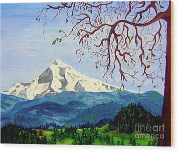 Mt Hood In Winter Wood Print