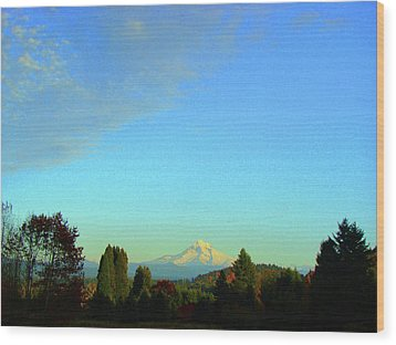 Mt Hood Just Before Sunset Wood Print by Lisa Rose Musselwhite
