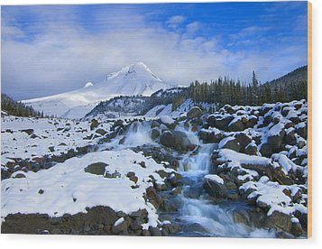 Mt. Hood Morning Wood Print by Mike  Dawson