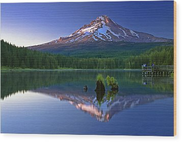 Wood Print featuring the photograph Mt. Hood Reflection At Sunset by William Lee