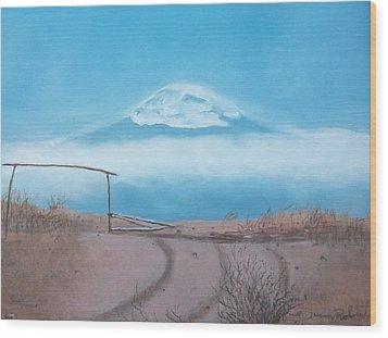 Wood Print featuring the painting Mt. Kilimanjaro by Susan Roberts