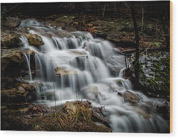 Mt. Magazine Cascade Wood Print by James Barber