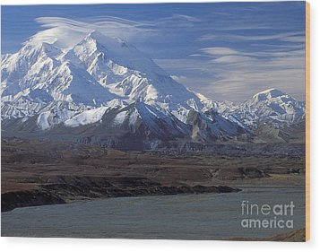 Mt. Mckinley And Lenticular Clouds Wood Print by Sandra Bronstein