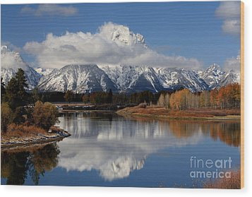 Wood Print featuring the photograph Mt Moran by Edward R Wisell