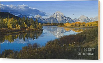 Mt. Moran On The Snake River Wood Print