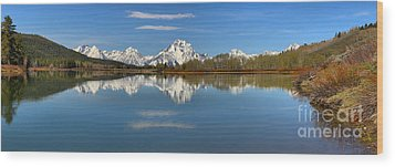 Mt. Moran Reflections At Oxbow Wood Print by Adam Jewell