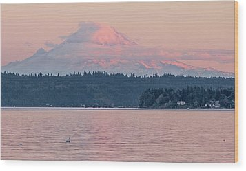 Mt. Rainier At Sunset Wood Print