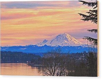 Mt Rainier From Lake Washington Wood Print by Alvin Kroon