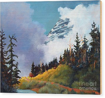 Mt. Rainier In Clouds Wood Print