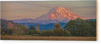 Mt Rainier In The Fall Wood Print
