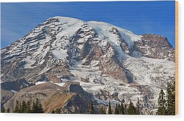 Wood Print featuring the photograph Mt. Rainier In The Fall by Larry Keahey