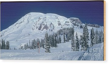 Wood Print featuring the photograph Mt. Rainier by Larry Keahey