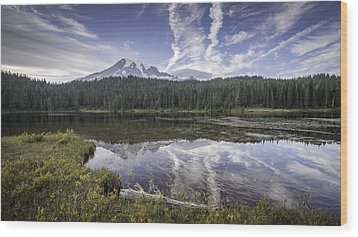 Mt. Rainier Reflection Wood Print