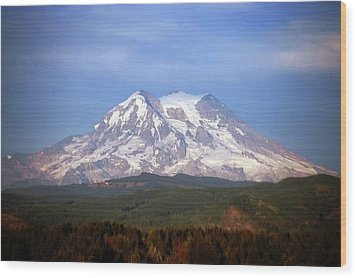 Mt. Rainier Wood Print by Sumoflam Photography