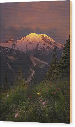 Mt. Rainier Sunrise Wood Print