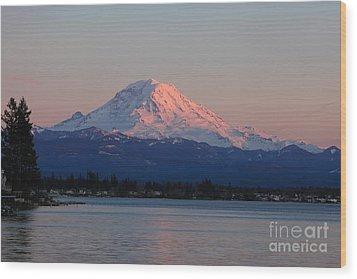 Mt Rainier Sunset Wood Print