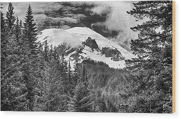 Wood Print featuring the photograph Mt Rainier View - Bw by Stephen Stookey