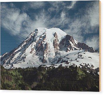 Mt Rainier - Washington State Wood Print by Greg Sigrist
