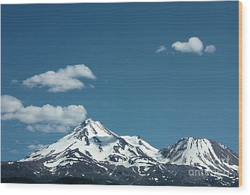Mt Shasta With Heart-shaped Cloud Wood Print by Carol Groenen