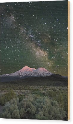 Mt Shasta With Milky Way#2 Wood Print by Keith Marsh