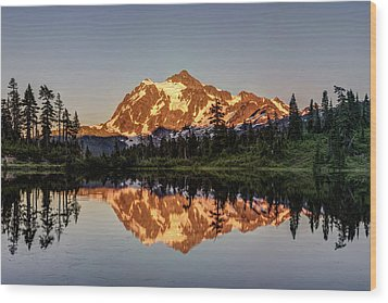 Wood Print featuring the photograph Mt Shuksan Reflection by Pierre Leclerc Photography