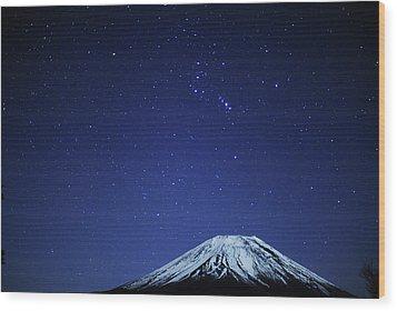 Mt.fuji And Winter Stars Wood Print by Takeshi.K