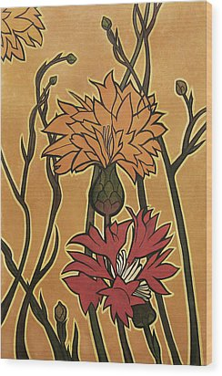 Mucha Ado About Flowers Wood Print by Carrie Jackson