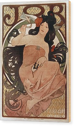 Mucha: Cigarette Paper Ad Wood Print by Granger