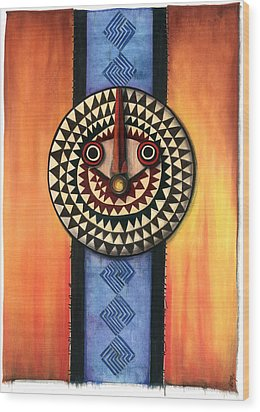 Wood Print featuring the mixed media Mud Cloth Mask by Anthony Burks Sr