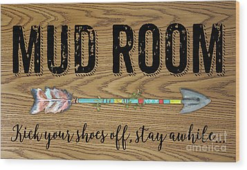 Wood Print featuring the digital art Mud Room-a by Jean Plout
