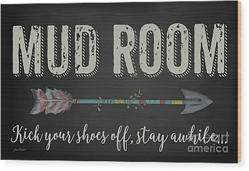 Wood Print featuring the digital art Mud Room-b by Jean Plout