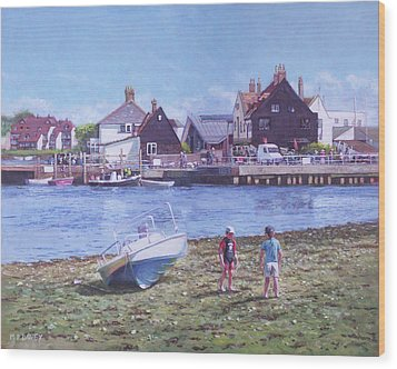 Wood Print featuring the painting Mudeford Quay Christchurch From Hengistbury Head by Martin Davey