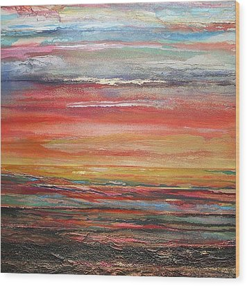 Mudflats Budle Bay Evening Light No2 Wood Print by Mike   Bell